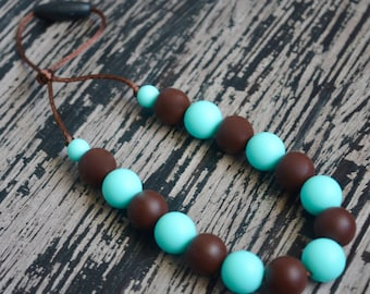 Silicone Teething Necklace, Brown and Blue, Chew Beads, Bite Beads, Toddler Sensory Necklace, Baby Necklace, BPA free, Baby Shower Gift
