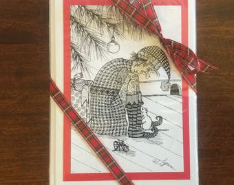 LYNN:  Set of 8 greeting cards, same design. This is a print of an original pen and ink drawing by me.