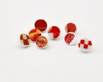 Broken China Push Pins - Recycled - Red - Upcycled - Broken Plate Art