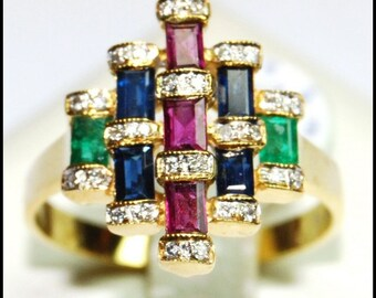 18K Yellow Gold Cocktail Genuine Diamond Multi Gemstone Ring [RF0011]