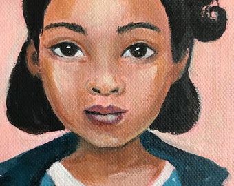 Clementine, a young girl with curls painted from a 1940's photobooth picture.