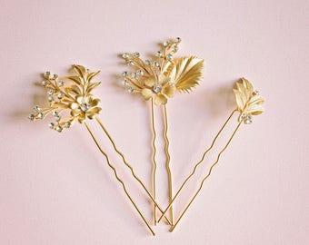 Gold leaf hair pin, Gold hair pin, Bridal hair pin, Gold bridal headpiece, Rhinestone hair pin, Flower hair pin