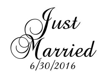 Just Married DIY vinyl decal/sticker to make wedding wood sign DIY photo prop reception decor chair sign