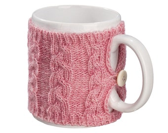 Mug Sweater, Cup Cozy, Reusable Coffee Sleeve Hand Protector, Drink Grip, Pink