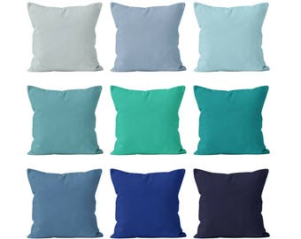 Solid Blue Pillow Covers Set Mix and Match 18x18 , Blue Throw Cushion Cover, Pastel Turquoise Teal Classic Navy Blue Beach Nautical _S