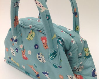 Girl's Mary Poppins Style Handbag in Sam & Mitzy Sausage Dog and Cats Fabric