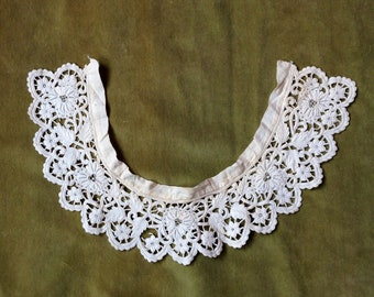 Antique Lace Collar - Old Lace Collar - Cream Lace Collar - Crewelwork Collar - Handmade Lace - Lace Collectible