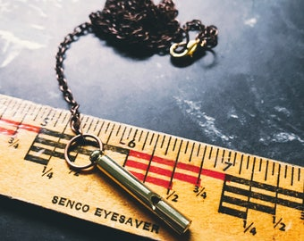 long Whistle necklace - shiny brass with copper mixed metal