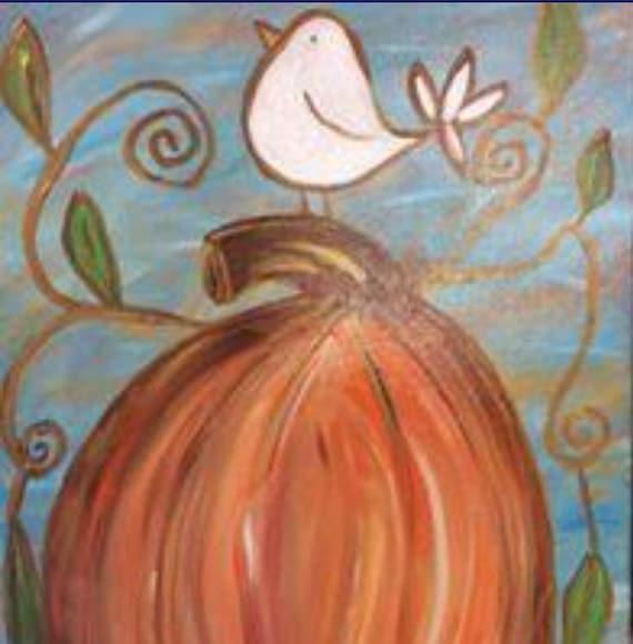 "Workshop: Painting ""Harvest Bird on Pumpkin"" at Makana Art Studio - Biloxi, MS"