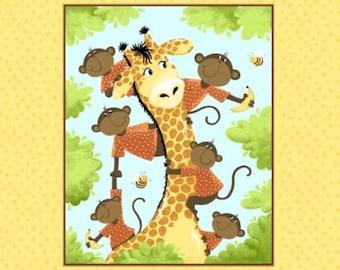 "Susybee Fabric, Giraffe Fabric : Susybee's Oolie Monkey and Zoe Giraffe - Quilt Top panel 100% cotton fabric by the Panel 36""x43"" (SB49)"