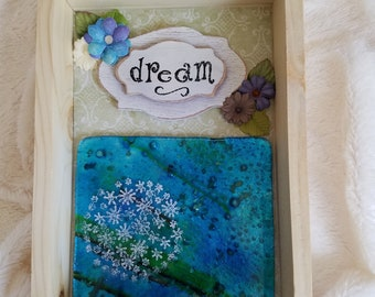 Wish Upon a Dream Shadowbox - Dandelion - Wish - Wall Decor - Wall Hanging - Home Decor - Gift for Her - Mixed Media Art - Original Art