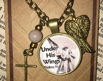 Under His Wings Necklace with 24 inch chain