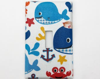 Whales Friends Light Switch Plate Cover / Outlet Cover / Bedroom / Home Decor / Baby Shower Gift / Nursery Decor / Kid's Room / Nautical