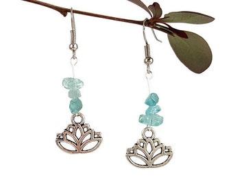Nature jewelry earthy Natural apatite earrings Earthy earrings Blue gemstone chips earrings Blue apatite jewelry gemstone Nature earring Lyi