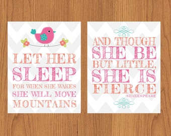 Let Her Sleep And Though She Be But Little She is Fierce Coral Pink Teal Bird Floral Chevron Nursery Wall Art Set of 2 8x10  (131)