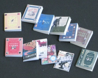 Miniature BOOKS 1/12 scale HANDMADE, with pages, Set of 12, Youth literature,DOLLHOUSE Accessories, Decoration Miniatures. Collectable