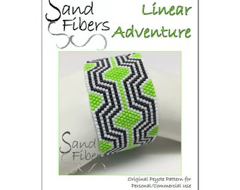 Peyote Pattern - Linear Adventure Peyote Cuff / Bracelet  - A Sand Fibers For Personal and Commercial Use PDF Pattern