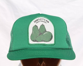 Vintage Green Mesh Trucker Snap Back Cap Hat with Avocado 80's