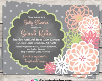 Baby Girl Shower invitation, Girl Baby Shower Invite, Chalkboard baby shower, Gray and Pink Floral chalkboard, printable Invitation