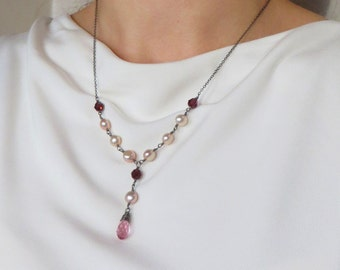 Rose Garnet Crystal Peach Pearl Black Silver Necklace Romantic Jewellery