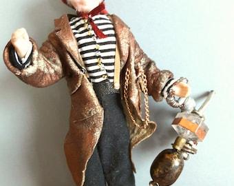 Steampunk Dollshouse Miniature figure: Captain Montmorency Fairweather