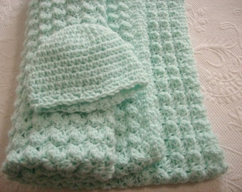 Crocheted Pastel Green Baby Blanket and Hat Set