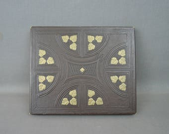 Vintage Gift Box, Pressed Cardboard Brown with Embossed Gold Leaves, 8x10x1 inches
