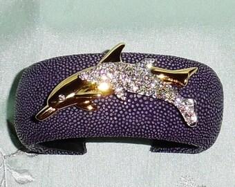 """Stingray Purple Polished Leather, Swarovski Crystal Dolphins, 1 1/4"""" W, Cuff Bracelet"""