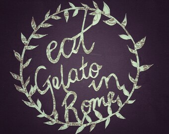 Eat gelato in Rome handmade papercutting from vintage wallpaper