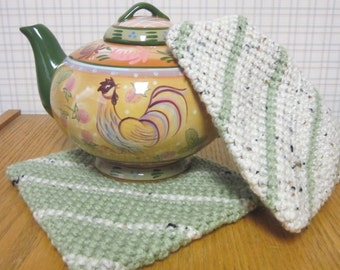 Crochet Potholders Sage and Twine - Set of 2 Potholders/Trivet