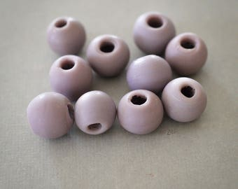 14 mm, 6 handcrafted indian glass beads, parme, opaque, large hole, ethnic spirit, rustic