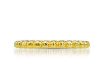 2mm gold wedding band | Solid Gold Bead Ring | Simple Wedding Band | 14k 18k yellow gold | Recycled Gold Stacking ring