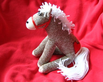 Sock Monkey Horse Pony - New - Heart Tattoo Rockford Red Heel Stuffed Animal Toy Plush Doll