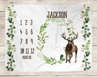Baby Milestone Blanket, Newborn Baby Boy Gift, Deer Baby Blanket, Woodland Milestone Blanket, Baby Name Blanket, Monthly Growth, Hunting