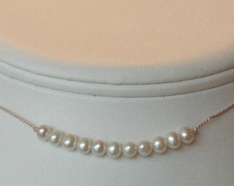 In a Row - Freshwater Pearl on Silk Necklace, Junior Bridesmaids Necklace, Flower Girls Necklace, Freshwater Pearl Silk Cord Necklace