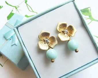 Mint earrings, Gold stud earrings, Turquoise earrings, Drop dangle earrings, blue and gold earrings, Aqua earrings