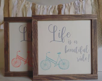 Ready to Ship, Life is a Beautiful Ride, Bicycle, Framed Wood Sign, Farmhouse Style Decor, Rustic, Kids Room