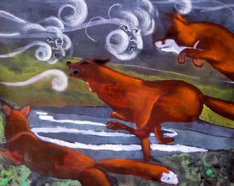 Foxes in the wind