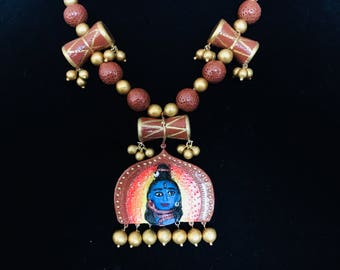 Lord Shiva Necklace- Terracotta Necklace- Temple Design-Damaru and Rudraksha Necklace