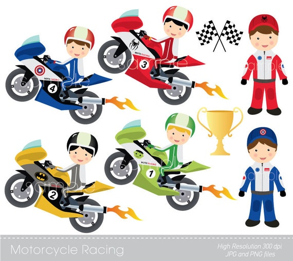 digital clipart motorcycle racing for scrapbooking