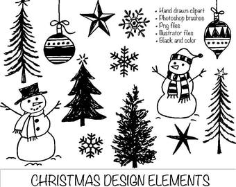 Hand Drawn Christmas Clipart. Photoshop Brushes Png and Illustrator Files. Trees Snowflakes Snowmen