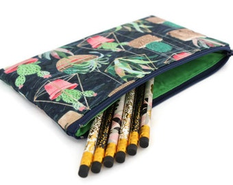 Pencil Pouch - Makeup Bag - Zipper Pouch - Cosmetic Bag - Zipper Clutch - Pencil Bag - Pencil Case - Gadget Bag in Succulents