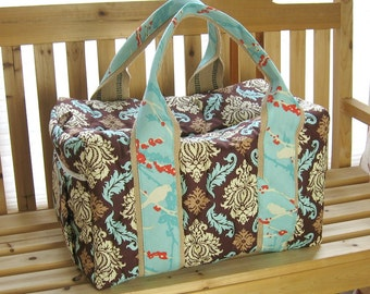 Made to order Quilted Damask Travel Duffel Bag