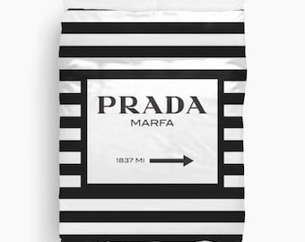 Prada Marfa Duvet Cover, Black and White Striped Bedding, Twin, Queen, King Duvet Cover, Fashion Decor, Dorm Bedding, Girls Bedroom Decor