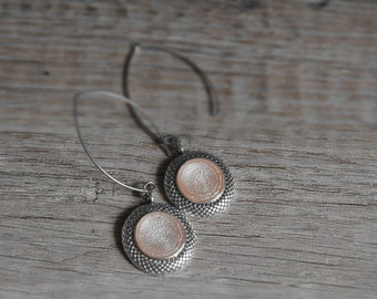 Rose Silver Earrings Drop Earrings Pink Cabochon Earrings and Pink Jewelery Mother's Day