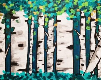 Green Forest Aspen Trees