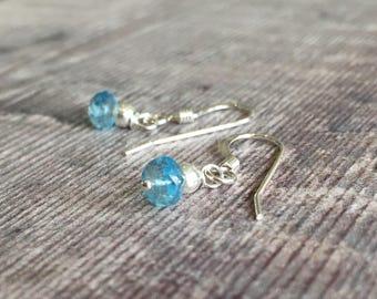 Minimalist Blue Topaz and Sterling Silver Earrings