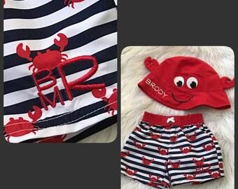 Baby Boy Swim Trunks, Baby Boy Swim, Monogrammed Baby Swimsuit, Boy Shower Gift,