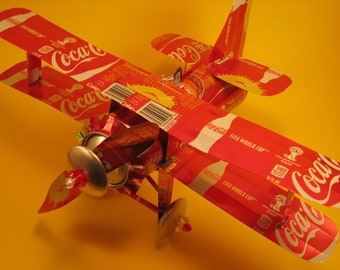 Coca Cola (Sun) Soda Can Airplane - Handcrafted-Wind Spinner-sun catcher-air plane