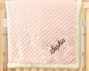 Embroidered Any Name Baby Sherpa Blanket, pink, baby girl, baby blanket, girls, personalized blankie, baby shower, newborn -gfyE000332PK